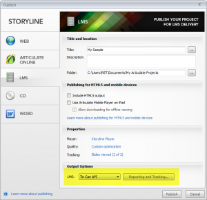 Storyline Tin CanSettings